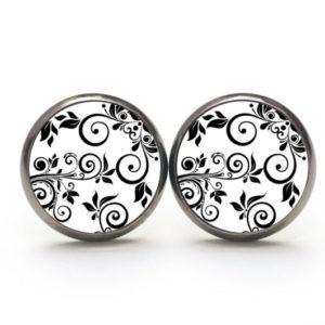 Druckknopf / Ohrstecker / Ohrhänger Blumenranken in schwarz und weiß