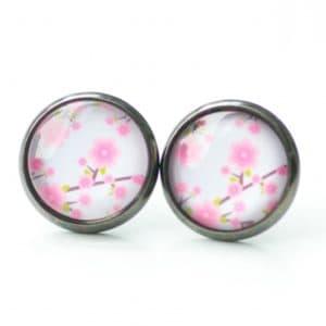 Druckknopf / Ohrstecker / Ohrhänger rosa Blumen