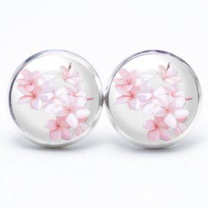 Druckknopf / Ohrstecker / Ohrhänger romantische Frangipani Blüten