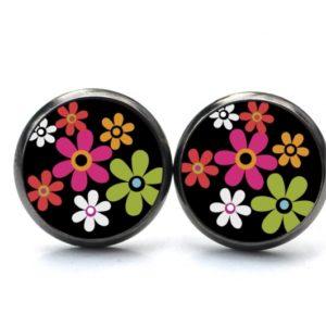 Druckknopf / Ohrstecker / Ohrhänger Hippie Blumen bunt mit schwarz