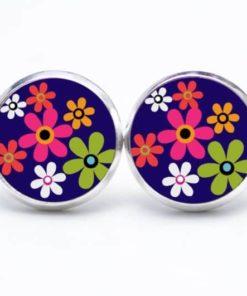 Druckknopf / Ohrstecker / Ohrhänger Hippie Blumen bunt mit blau