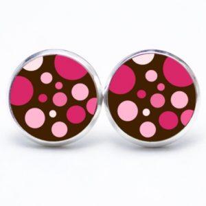 Druckknopf / Ohrstecker / Ohrhänger Punkte Tupfen rosa braun