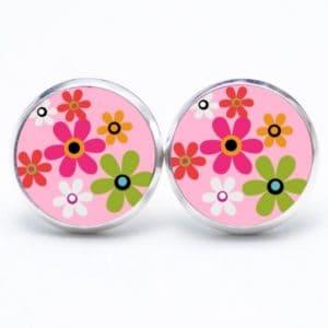 Druckknopf / Ohrstecker / Ohrhänger Hippie Blumen bunt mit rosa