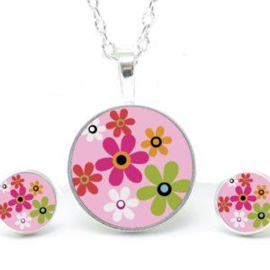 Set Kette mit Ohrringen Hippie Blumen bunt in rosa