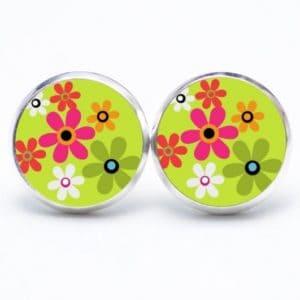 Druckknopf / Ohrstecker / Ohrhänger Hippie Blumen bunt mit hellgrün