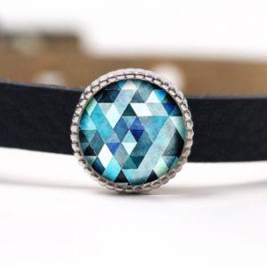Schiebeperle Mosaik blau türkis Kaleidoskop
