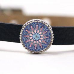 Schiebeperle Mandala Mosaik rosa und blau