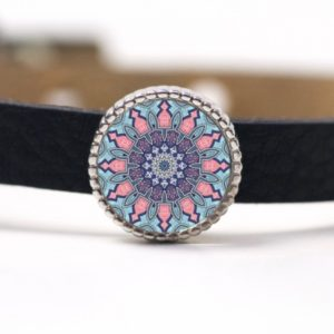 Schiebeperle Mandala Mosaik rosa und hellblau