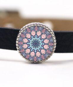 Schiebeperle Mandala Mosaik rosa, türkis und blau