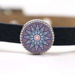Schiebeperle Mandala Mosaik Stern rosa und blau