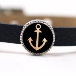 Schiebeperle goldener Anker maritim schwarz
