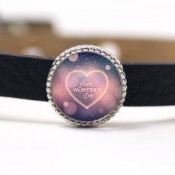 Schiebeperle Herz rosa Happy Valentines Day Valentinstag