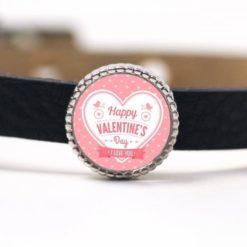 Schiebeperle Herz rosa weiß Happy Valentines Day Valentinstag