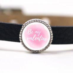 Schiebeperle rosa weiß Be my valentine (Sei mein Valentin) Valentinstag