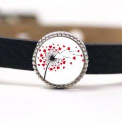 Schiebeperle Herz Pusteblume rot weiß Valentinstag