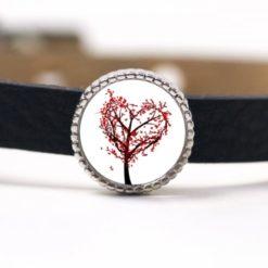 Schiebeperle Herz Baum Herz Blätter rot weiß Valentinstag
