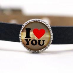 Schiebeperle I love you (Ich liebe dich) großes rotes Herz Valentinstag