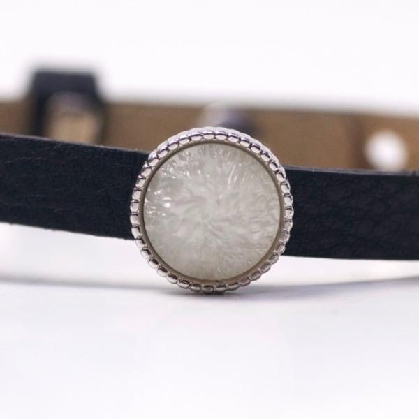 Schiebeperle mit grau geeister Polaris Perle