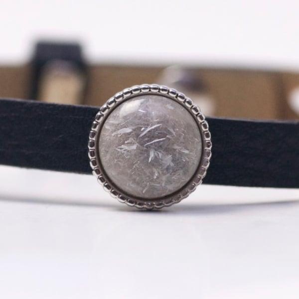 Schiebeperle mit grau weiß melierter Polaris Perle