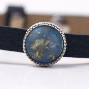 Schiebeperle mit blau gold gesprenkelter Polaris Perle