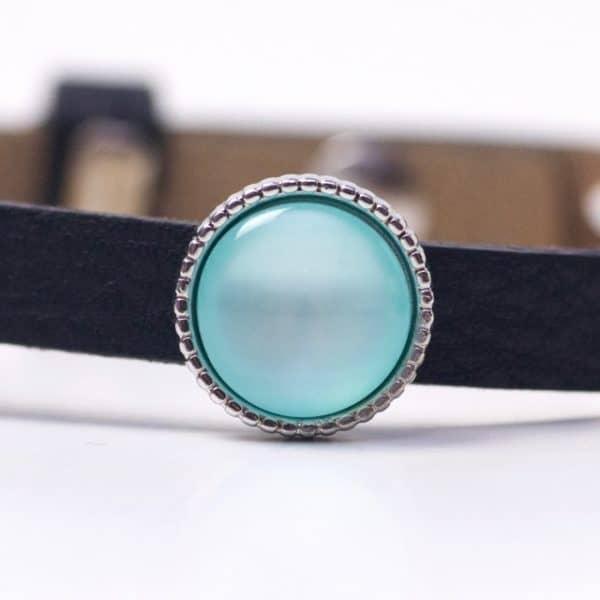 Schiebeperle mit türkis glänzender Polaris Perle