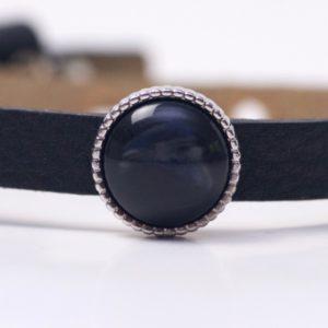 Schiebeperle mit schwarz blau glänzender Polaris Perle