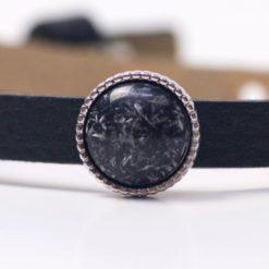 Schiebeperle mit schwarz/weiß matter Polaris Perle