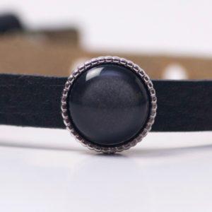 Schiebeperle mit schwarz glänzender Polaris Perle