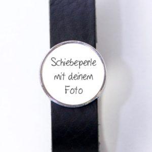 Schiebeperle mit deinem Foto für Schlüsselanhänger Leder