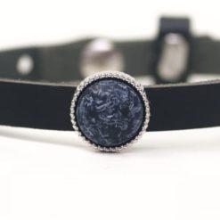 Schiebeperle schwarz grau matte Polaris Perle