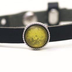 Schiebeperle oliv grün glitzernde Polaris Perle