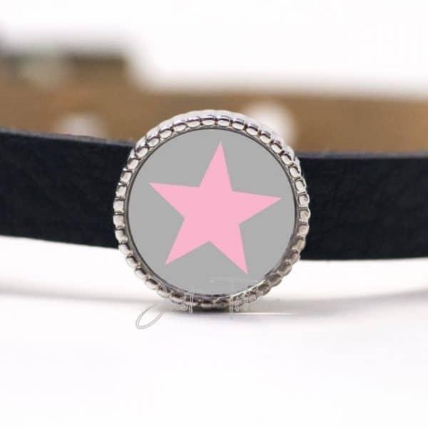 Schiebeperle mit Stern Grau / Rosa