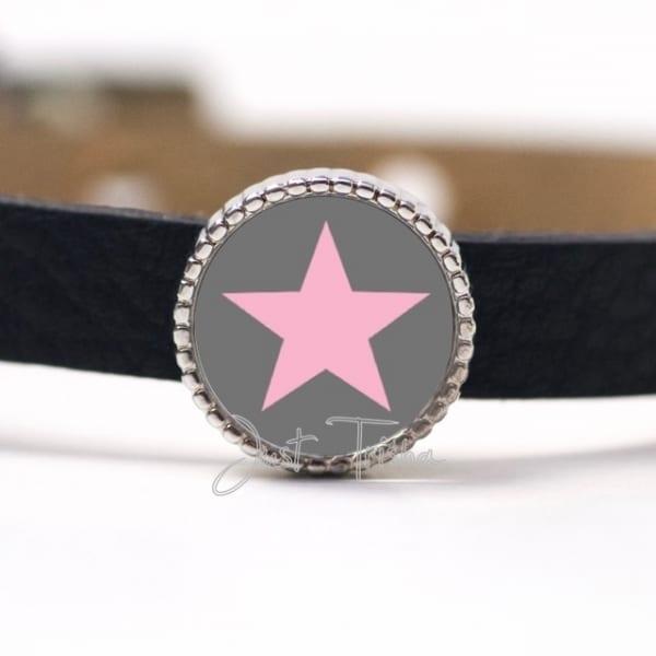 Schiebeperle mit Stern Dunkelgrau / Rosa
