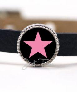 Schiebeperle mit Stern Schwarz / Rosa