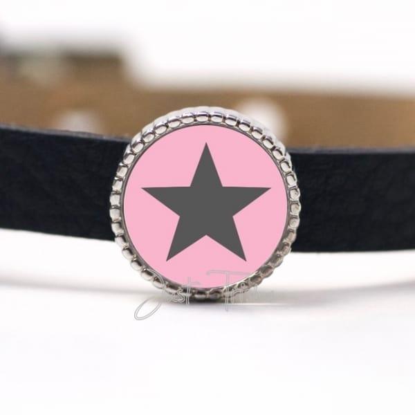Schiebeperle mit Stern Rosa / Grau