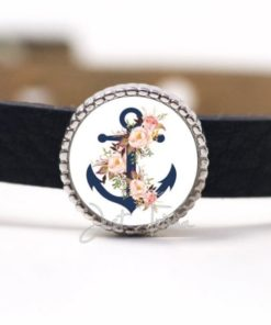 Schiebeperle mit blauem Anker und Blumen