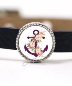 Schiebeperle mit violetem Anker und Rosen