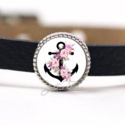 Schiebeperle mit schwarzem Anker und rosa Rosen