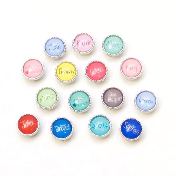 1 Schiebe Perle personalisiert mit Namen / Text / Datum