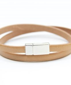Zartes Wickellederarmband in Beige