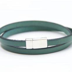 Zartes Wickellederarmband in Smaragdgrün