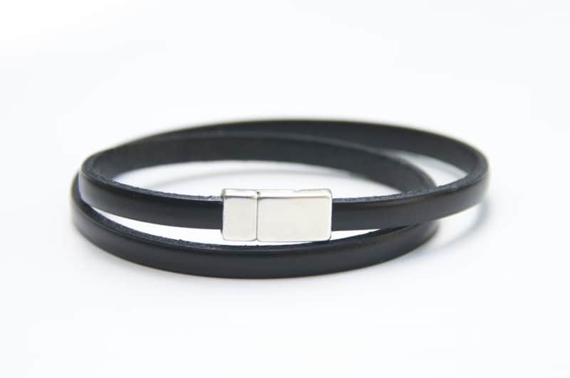 Zartes Wickellederarmband in Schwarz