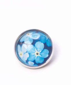 Button Knopf blaue Blumen