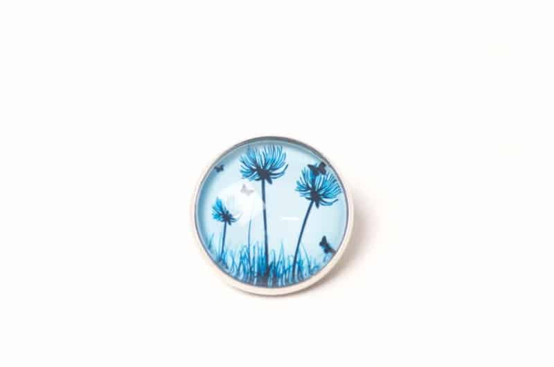 Druckknopf blaue Pusteblumen