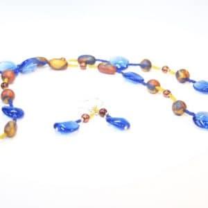 Lange braun/blaue Kette mit Fimo Perlen