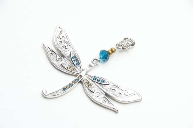 Großer Libellen Anhänger in Türkis/Gold für Modulketten