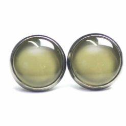 Druckknopf / Ohrstecker / Ohrhänger handbemalt oliv grün