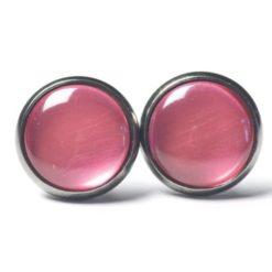 Druckknopf / Ohrstecker / Ohrhänger handbemalt rosarot metallic