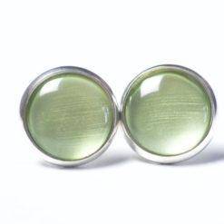 Druckknopf / Ohrstecker / Ohrhänger handbemalt metallic matcha grün