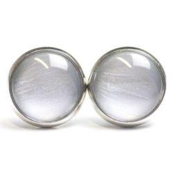 Druckknopf / Ohrstecker / Ohrhänger handbemalt Silber